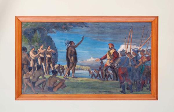 Jacques Cartier atterit à Hochelaga en 1535, Adrien Hébert